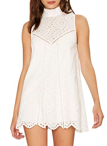 Azbro Women's Mock Neck Sleeveless Lace Scalloped Hem Mini Dress white