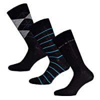 Mens Duck And Cover Anderson 3 Pack Socks In Black- One Pair Striped, One Pair