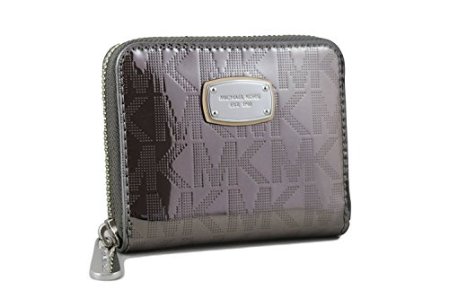 Michael Kors Signature Mirror Metallic Zip Around Bifold Wallet Nickel (Wallet Medium Zip)