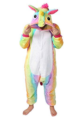 Einhorn jumpsuit Schlafanzug Damen Einhorn kostüm tier jumpsuit Erwachsene Flanell Cosplay zum Karneval Fasching (Pferd) (M: für Höhe 158-167, Gelb)