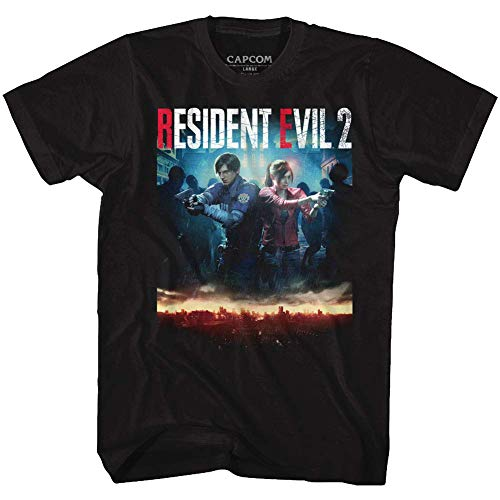 Resident Evil Horror Syfy Film Video Game Re2Make Cover Adult T-Shirt Tee - Schwarz - X-Large Hoch -
