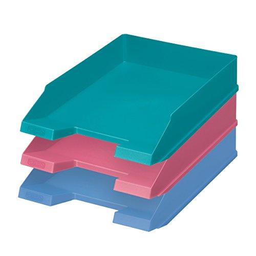 3X Cestino/Vaschetta portacorrispondenza/Portalettere/colore: je 1X Rosa, Blu, Turchese