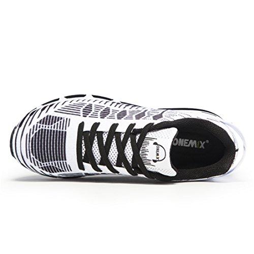 Onemix Herren Air Laufschuhe 2017 Fitness Luft Sportschuhe Runners Sneakers Schwarz Weiß