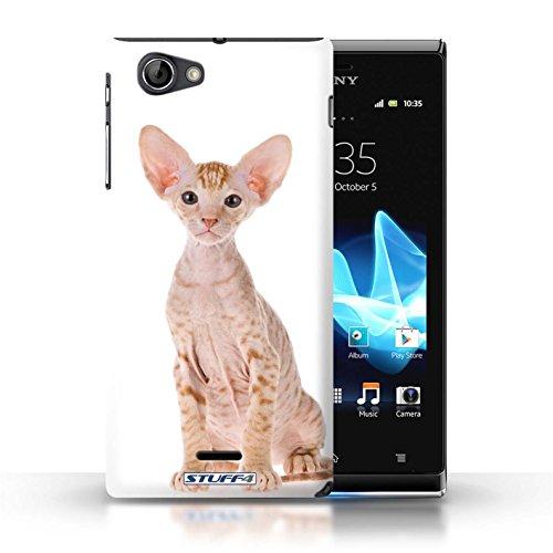 Kobalt® Imprimé Etui / Coque pour Sony Xperia J (ST26i) / Sibérien conception / Série Espèces de chats Peterbald