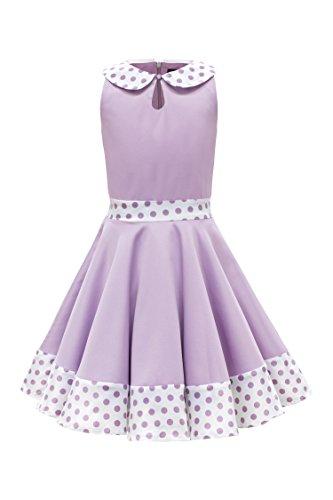 BlackButterfly Kinder 'Zoey' Vintage Polka-Dots Kleid im 50er-Jahre-Stil (Flieder, 7-8 J / 122-128) -