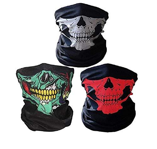 Drei Unternehmen Kostüm - JBR 3 Stück Multifunktionstuch | Sturmmaske | Bandana | Schlauchtuch | Halstuch mit Totenkopf- Skelettmasken für Motorrad Fahrrad Ski Paintball Gamer Karneval Kostüm Skull Maske