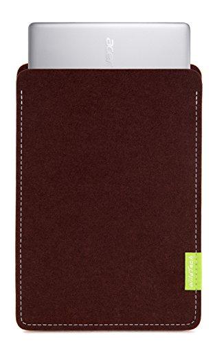WildTech Sleeve für Acer Chromebook 14 (CB3-431-C6UD) Hülle Tasche aus echtem Wollfilz - 17 Farben (Handmade in Germany) - Dunkelbraun