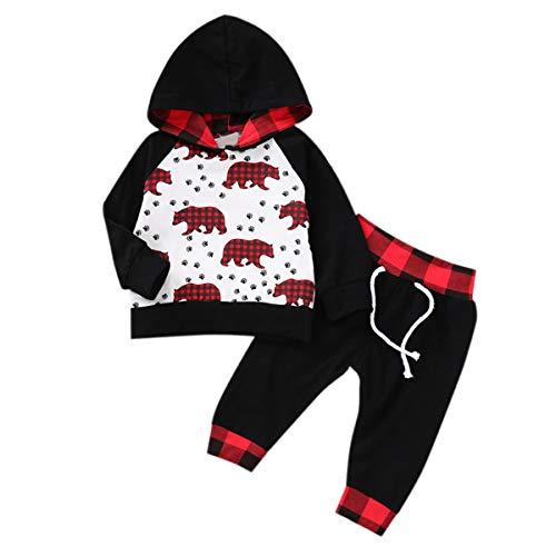 HaiQianXin 2 teile/satz Herbst Winter Neue Jungen Mädchen Kleidung Anzug Mit Kapuze Bär Shirt Sweatshirt + Pants (Size : 3M-6M) (Schwarzen Bären Anzug Kostüm)
