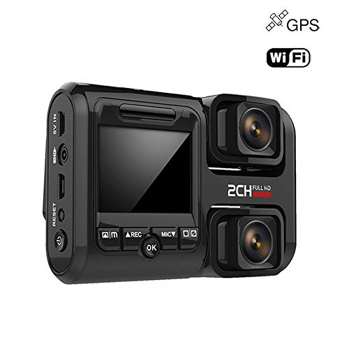 360 ° Panorama Car Dash Cam Doppio 1080P Full HD Lens WIFI e GPS DVR con grandangolo, registrazione ad anello, G-Sensor, Motion Detection