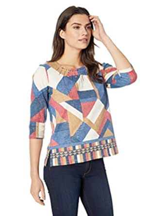 Alfred Dunner Womens Petite Patchwork Print Tee Shirt
