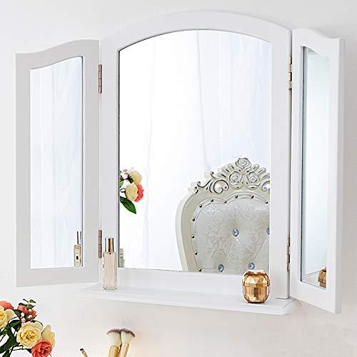 Chende Dreifach Spiegel mit Abnehmbar Base, Spiegel 3 teilig klappbarer Kosmetikspiegel für den Schminktisch, Tischspiegel oder Wandspiegel groß (Weiß)