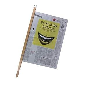 BigDean Zeitungshalter Zeitungsstock Old Times mit Einspannlänge 58cm Buche Natur