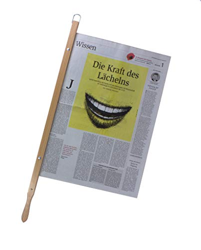 BigDean Zeitungshalter Old Times mit Einspannlänge 58cm Buche Natur