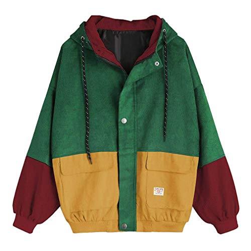 Frauen Langarm-Sweatshirt Cord Patchwork Übergroße Jacke Mantel Zip Sweatshirt Tops Grün L