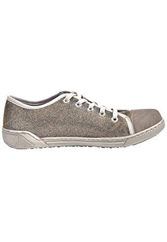RIEKER Damen Schnuerschuhe pebble/gold-silver/argento, 950514-9 grau