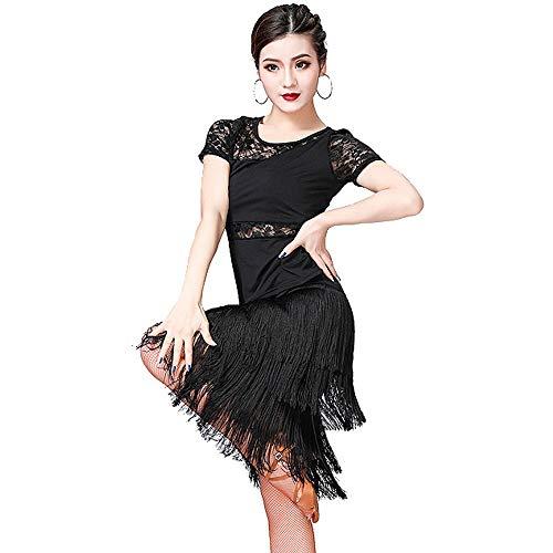 MARXHOT Frau Sexy Lace Tassel Latin Ballroom Party Dance Dresss Round Collar Samba Tango Leotard Split Dance Skirts Performance Costumes für Damen,Black,XL
