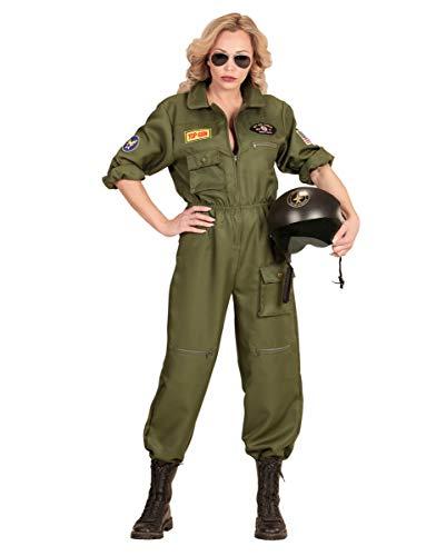 Air Kostüm Force - Horror-Shop Luftwaffen Kampfjet Pilotin Frauenkostüm für Fasching & Motto Party M