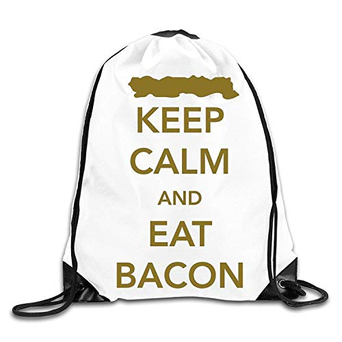 Etryrt Zaino con Coulisse,Borsa Palestra,Sacca Sportiva, Creative Design Keep Calm And Eat Bacon Drawstring Backpack Sport Bag for Men And Women