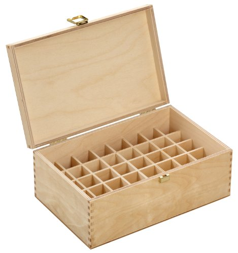 Holzbox aus hellem Birkenholz - für 40 Flaschen (10 ml) - Maße: 250 x 161 x 101 mm (BxTxH) - Lochdurchmesser: 26 mm, eckig *** Bachblütenbox,...