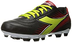 Diadora Women s Mago L W LPU Soccer Shoe Black/Lime/Red 7 B(M) US