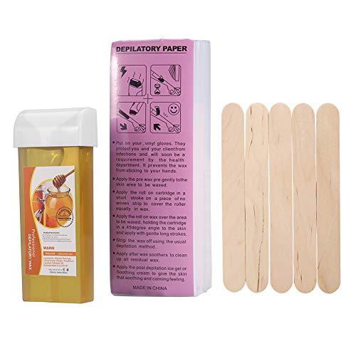 Enthaarungswachs-Cremeset, 12-teiliges Haarentfernungswachs-Set mit 100 g Wachs und 100 STÜCK Enthaarungspapier und 5 STÜCK Wodden Spateln(Honig)