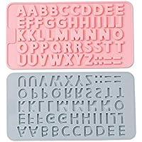 Wicemoon 2 Unids Moldes de Chocolate Letras Inglesas Número Forma Fondant Cake Soap Moldes Accesorios de