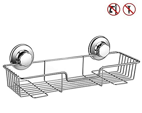 ARCCI Panier de douche en acier inoxydable étagère de douche à ventouse avec rotation et serrure