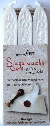 gravurART - flexibles Siegelwachs mit Docht in weiß-perlmutt, 3 Stangen