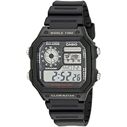 Casio Men's AE1200WH-1AV Black Plastic Quartz Watch with Digital Dial