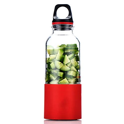 Mini Batidora de Vaso para Fruta, Licuadora Portátil USB,con 2 Cuchillas, para Oficina en casa Viajes y Aire Libre (500ml),Red