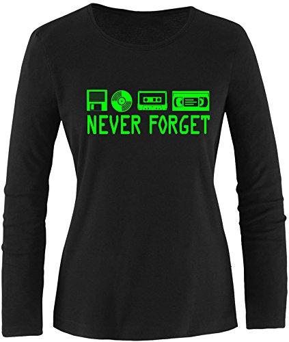 EZYshirt® Never forget Damen Longsleeve Schwarz/Neongrün