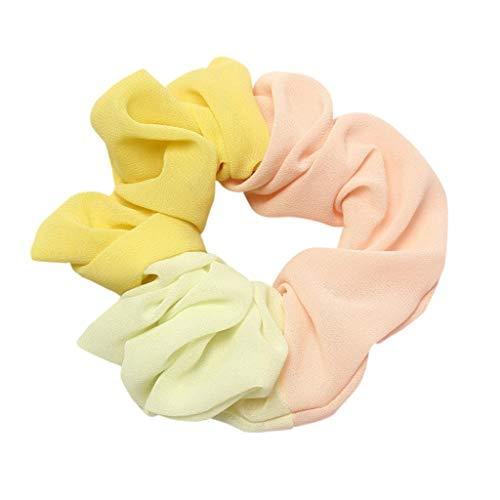 Dicomi Haarband Damen Sommer Frauen Pferdeschwanz Inhaber Stirnband Elastisches Haar Seil Ring Haarband Krawatte Scrunchie Gelb