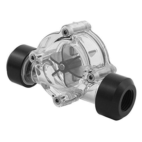 sourcingmap® Schwarz Klar Acryl G1/4 Gewinde Computer Wasserkühlung Durchflussmesser Ohne Barb - 2