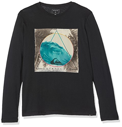 Quiksilver Jungen LS Tee Yth Tri Classic Bermuda Trian-Long Sleeve T-Shirt, Anthracite, L/14