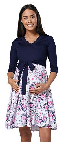 Happy Mama Damen Umstandskleid Stillkleid 3/4 Ärmel 525p (Marine & Weiße Blumen, EU 44/46, 2XL)