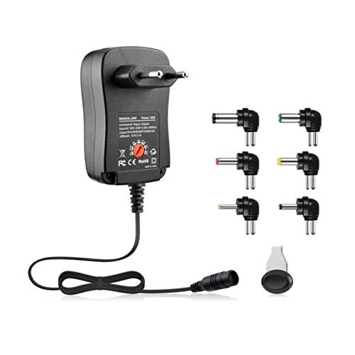 WOSOSYEYO 3-12V 30W 2.1A AC / DC Netzteil Universal Ladegerät Adapter mit 6 Steckern Spannungsgeregeltem Netzteil -
