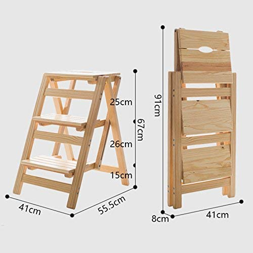 CWJ Kreative Schuhe Hocker-Schritt Hocker 3-Tier Holz Klappstuhl Mobile Ascending Ladder Regal Blume Stand Bartheke, Home Hocker,Holz - 3-tier-ladder Regale