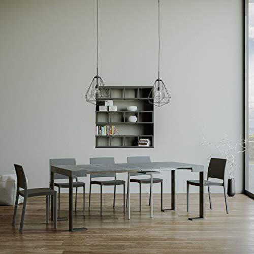 Itamoby Consolle allungabile Tecno Small Cemento & Antracite L.90 x H.77 x P.40 (allungabile Fino a 196 cm)