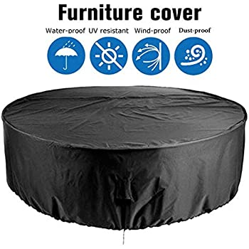 /Ø128X71cm Round Garden Table Cover Circular Outdoor Patio Set Cover 420D Heavy Duty Protection Waterproof Windproof Weatherproof/&Anti-UV Patio Circular Table Cover Chusstang Garden Furniture Cover