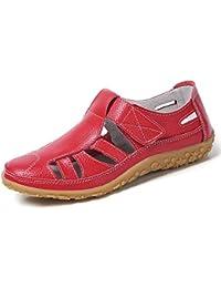 Z.SUO Sandalias Mujer de Cuero Planas Cómodos Casual Mocasines Loafers Moda Zapatos Plano Verano