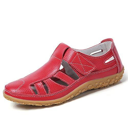 Z.SUO Sandalias Mujer de Cuero Planas Cómodos Casual Mocasines Loafers Moda Zapatos Plano Verano Sandalias...