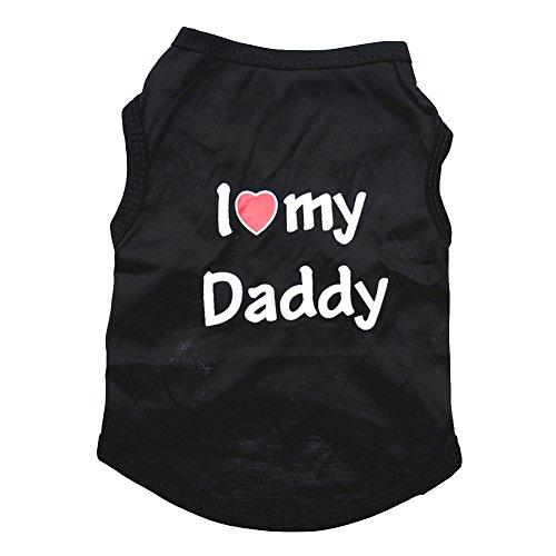 CplaplI Haustierkleidung, ärmellos, mit Aufschrift I Love My Daddy Mommy, Baumwolle, Schwarz