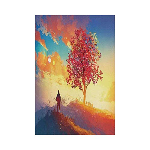 Liumiang Eco-Friendly Manual Custom Garden Flag Demonstration Flag Game Flag,Abstract Home Decor,Autumn Landscape with Alone Tree on Mountain Coming Home Illustrationecor décor -