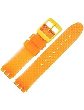 Uhrenarmband 18mm Kunststoff Orange Swatch Spezialanstoß - Leicht Profilierte Oberfläche - Widerstandsfähiges...