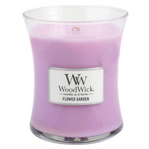 Woodwick Blumengarten mittelgroße Duftkerze im Glas mit Holzdeckel 275 g, rosa, 10 x 9.8 x 11.9 cm China Bouquet