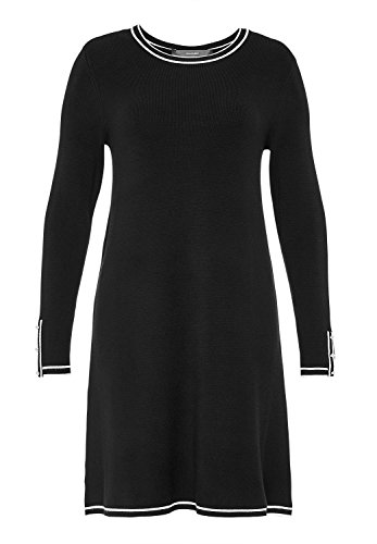 HALLHUBER Strickkleid mit Kontrastblenden A-Linie schwarz, L