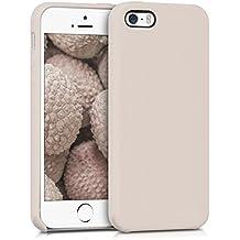 kwmobile Funda para Apple iPhone SE / 5 / 5S - Case para móvil de TPU silicona - Cover trasero en beige