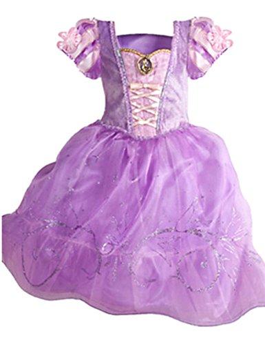 Ninimour Prinzessin Kleid Grimms Märchen Kostüm Cosplay Mädchen Halloween Kostüm Violett#3, Gr.120 (Halloween Prinzessin)