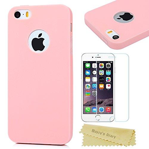 Mavis's Diary Coque iPhone 5/iPhone 5S/iPhone SE Étui de Protection TPU Housse Souple Phone Case Cover Découp du Logo Rose + 1 x Film de Protection en Verre Trempé Écran Protecteur