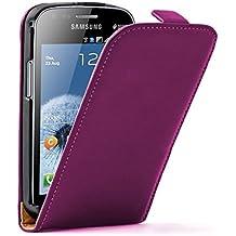 Membrane - Ultra Slim Morado Funda Carcasa para Samsung Galaxy Trend Plus (GT-S7580) - Flip Case Cover + 2 protectores de pantalla